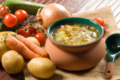 Minestrone - Italian vegetable soup Stock Photo