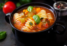 Minestrone, italian vegetable soup with pasta. Stock Photos