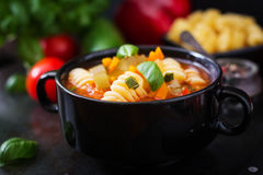 Minestrone, italian vegetable soup with pasta. Stock Images