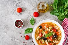 Minestrone, italian vegetable soup with pasta. Vegan food. Stock Image