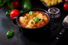Minestrone italiensk grönsaksoppa med pasta royaltyfri bild