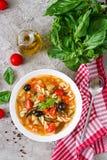 Minestrone italiensk grönsaksoppa med pasta Strikt vegetarianmat Royaltyfria Foton
