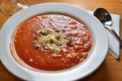 Minestrone. Vegetable soup with bean Stock Image