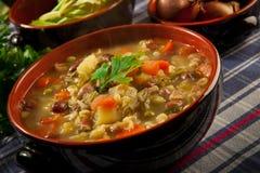 Minestrone - soep met groenten Stock Afbeeldingen
