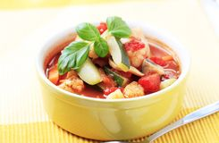 Minestrone soup. In a bowl - closeup Royalty Free Stock Photos