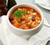 Minestrone Soup. Delicious Italian minestrone soup ready to serve Stock Photography