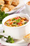 Minestrone soup. Closeup of bowl of hot fresh Minestrone soup and cheese garlic breadsticks Stock Photography