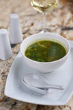 Minestrone soup with arugula in bowl Stock Photos