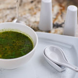 Minestrone soup with arugula in bowl Royalty Free Stock Photos