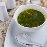 Minestrone soup with arugula in bowl Royalty Free Stock Image