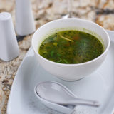 Minestrone soup with arugula in bowl Stock Image