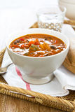 Minestrone soup [Bean,Zucchini soup]. Minestrone soup [Bean,Zucchini,pepper soup] by french bread stock photos