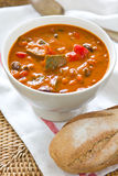 Minestrone soup [Bean,Zucchini soup]. Minestrone soup [Bean,Zucchini,pepper soup] by french bread royalty free stock photo