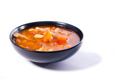 Minestrone soup in black bowl Stock Photography