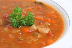 Minestrone Soup Bowl Close-up Stock Image