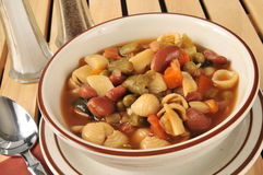 Minestrone Soup. Closeup of a bowl of minestrone soup Royalty Free Stock Image