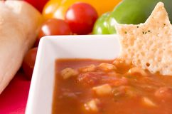 Minestrone Soup and Parmesan Wafer Stock Photography