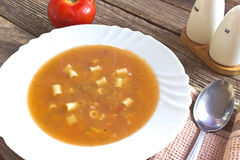 Minestrone soup in plate Stock Photo