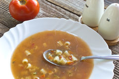 Minestrone soup in plate Royalty Free Stock Photography