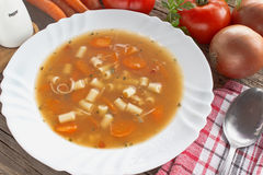 Minestrone soup in plate Royalty Free Stock Photos