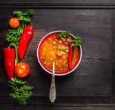 Minestrone soup in red bowl with vintage spoon on old darkt wooden table Stock Image