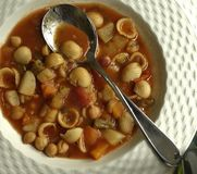 Minestrone Soup with Spoon. Royalty Free Stock Photography