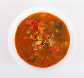 Minestrone soup. Minestrone vegetable soup high angle view stock photography