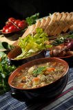 Minestrone - soup with vegetables. Italian cuisine Stock Images