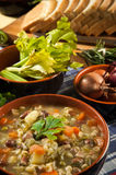 Minestrone - Suppe mit Gemüse Stockfotos