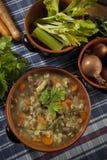 Minestrone - Suppe mit Gemüse Lizenzfreies Stockfoto