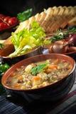 Minestrone - Suppe mit Gemüse Stockbild