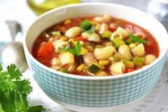 Minestrone - traditional italian vegetavle soup. Stock Photos
