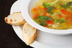 Minestrone vegetable soup Stock Photo