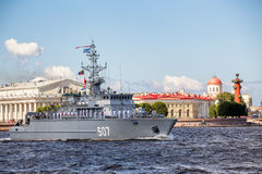 Minesweeper Alexander Obukhov on rehearsal of the naval parade on the day of the Russian Fleet in St. Petersburg Royalty Free Stock Photos