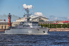 Minesweeper Alexander Obukhov on rehearsal of the naval parade on the day of the Russian Fleet in St. Petersburg Stock Image