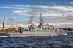Minesweeper Alexander Obukhov on rehearsal of the naval parade on the day of the Russian Fleet in St. Petersburg Royalty Free Stock Photo