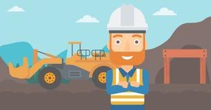 Mineur avec l'équipement minier sur le fond Images libres de droits