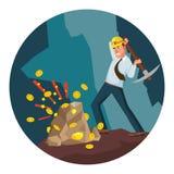 Mineur Man Vector Mineur moderne Businessman Devise de Digital Illustration de personnage de dessin animé Photographie stock