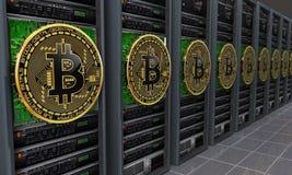 Mineurs de serveurs de Bitcoin Photographie stock