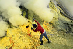Mineurs de soufre Photographie stock