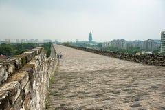 Ming City Wall av den Nanjing Zhonghua porten Arkivfoton