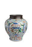 Ming Dynasty blue and white colored tank opening Tongzai Xi Lantern Festival Stock Images