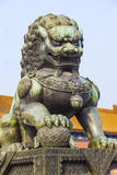 Ming Dynasty guardian lion at the Forbidden Cit. A Ming Dynasty guardian lion at the Palace of Heavenly Purity in Beijing in the Forbidden City , Beijing Stock Photos