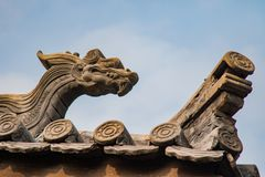 Ming Dynasty Roof Decor. Ornated decorations atop temples built during the Ming Dynasty Royalty Free Stock Photo