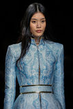 Ming Xi walks the runway during the Balmain show Royalty Free Stock Photo