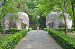 Ming Xiaoling Mausoleum, Nanjing. Stone Elephant in the sacred way in Ming Xiaoling Mausoleum, Nanjing, Jiangsu Province, China Stock Photo
