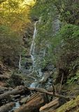 Mingo Falls. Located on the Cherokee Indian Reservation near Cherokee, North Carolina, is one of the tallest waterfalls in the Smoky Mountains at 120 feet stock images