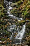 Mingo Falls Waterfall. Mingo Falls. It`s a scenic 150 foot waterfall not far from the Blue Ridge Parkway in Cherokee North Carolina. This is just a small portion royalty free stock images