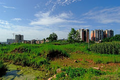 Mingshan China-New residential areas are constructing. A beautuful day,clean, neat, beautiful new residential areas Mengding Mountain near are constructing Stock Photo