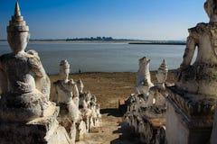 Mingun的Hsinbyume或Myatheindan塔缅甸的(缅甸) 图库摄影